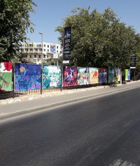 תערוכה - הדפסה והתקנת שמשוניות לאורך רחוב