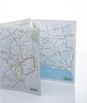 מפה מודפסת של ירושלים ותל אביב